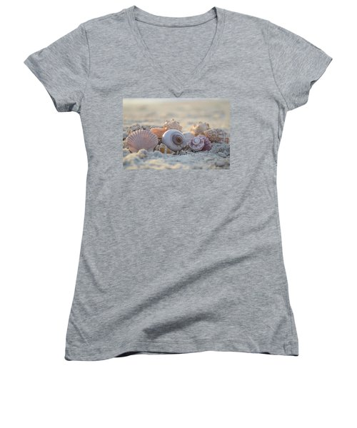 Peaceful Whispers Women's V-Neck T-Shirt (Junior Cut) by Melanie Moraga