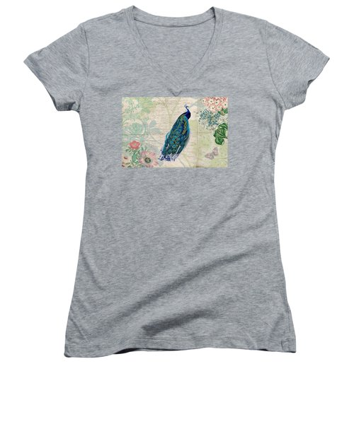 Peacock And Botanical Art Women's V-Neck T-Shirt (Junior Cut) by Peggy Collins