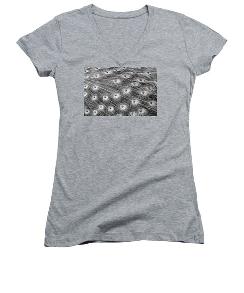 Women's V-Neck T-Shirt (Junior Cut) featuring the photograph Peacock Feather Fiesta - Black And White by Diane Alexander