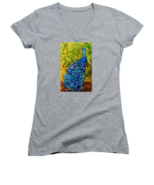 Women's V-Neck T-Shirt (Junior Cut) featuring the painting Peacock by Katherine Young-Beck