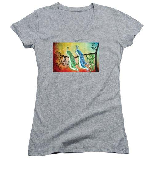 Peacock Love Women's V-Neck T-Shirt (Junior Cut) by Kim Prowse