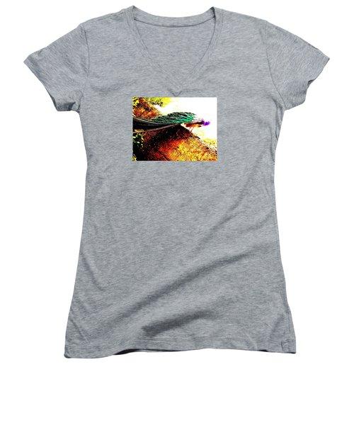 Peacock Tail Women's V-Neck T-Shirt (Junior Cut) by Vanessa Palomino