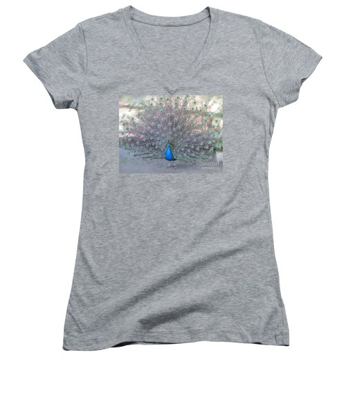 Peacock3  Women's V-Neck T-Shirt (Junior Cut) by Laurianna Taylor