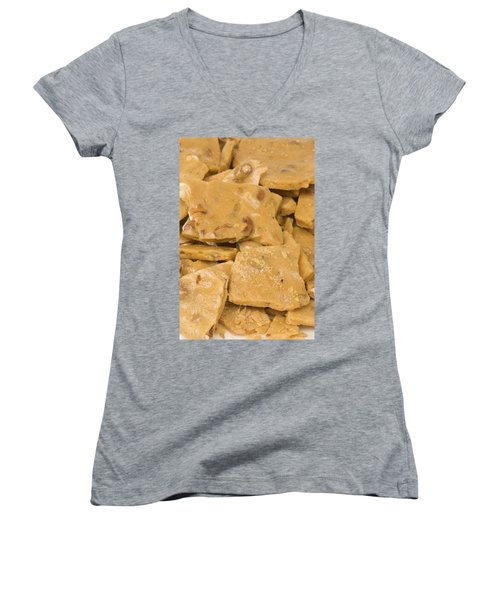 Peanut Brittle Closeup Women's V-Neck T-Shirt (Junior Cut) by Vizual Studio