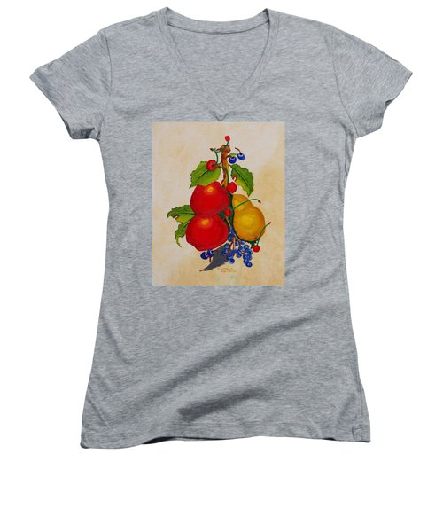 Women's V-Neck T-Shirt (Junior Cut) featuring the painting Pear And Apples by Johanna Bruwer