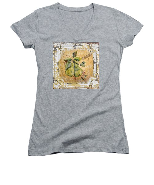 Pears And Dragonfly On Vintage Tin Women's V-Neck T-Shirt (Junior Cut) by Jean Plout