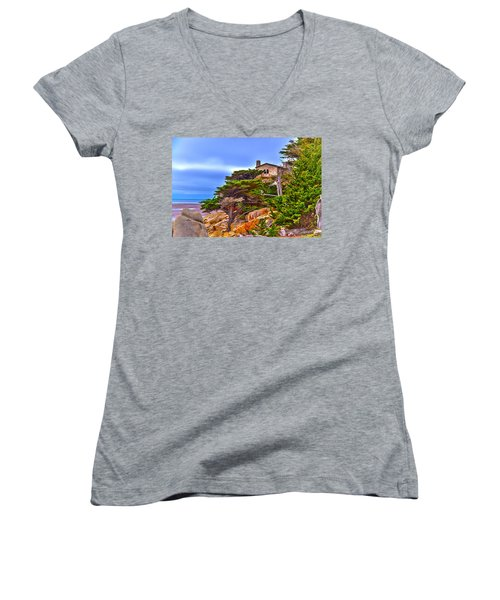 Pebble Beach Ca Women's V-Neck T-Shirt