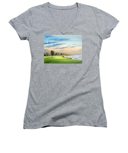 Pebble Beach Golf Course 18th Hole Women's V-Neck T-Shirt (Junior Cut) by Bill Holkham