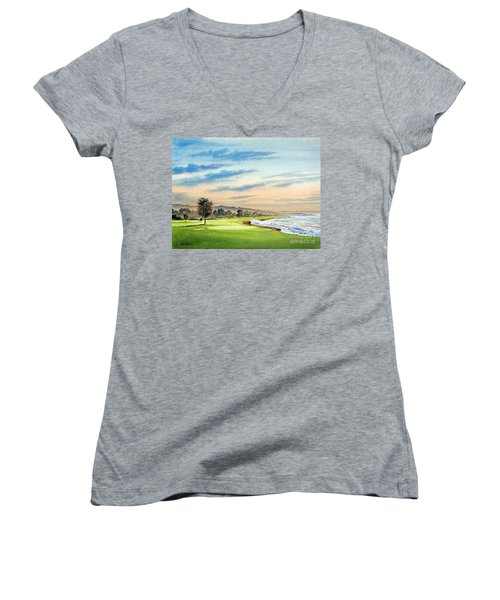 Pebble Beach Golf Course 18th Hole Women's V-Neck (Athletic Fit)
