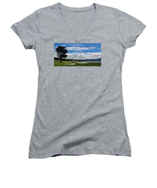 Pebble Beach - The 18th Hole Women's V-Neck T-Shirt (Junior Cut) by Judy Vincent