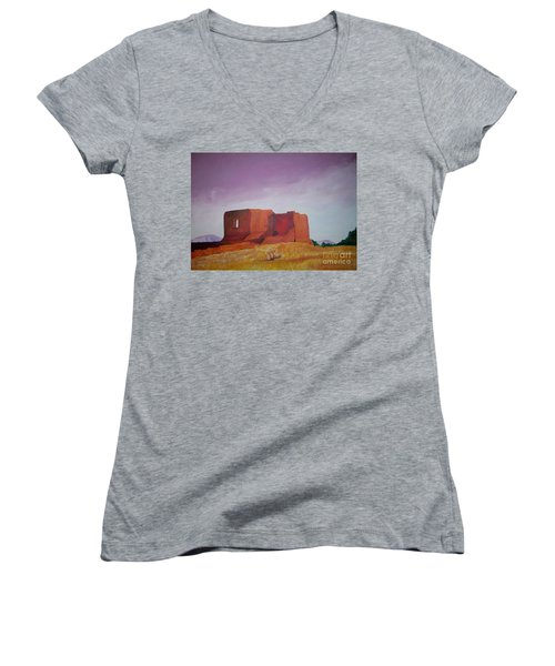 Women's V-Neck T-Shirt (Junior Cut) featuring the painting Pecos Mission Landscape by Eric  Schiabor