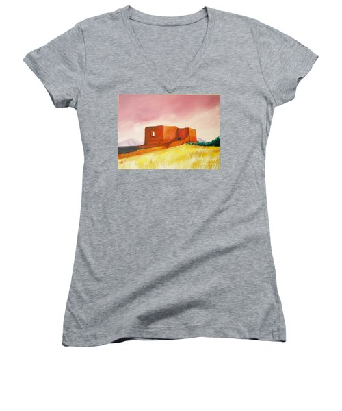 Women's V-Neck T-Shirt (Junior Cut) featuring the painting Pecos Mission Nm by Eric  Schiabor