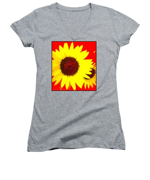 Women's V-Neck T-Shirt (Junior Cut) featuring the photograph Peek A Boo by Kathy Barney