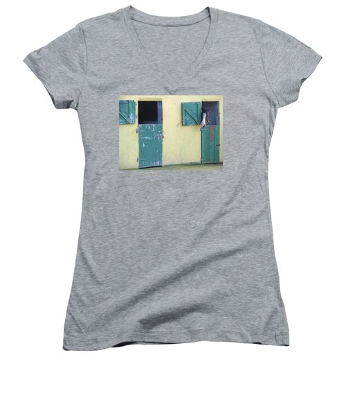 Women's V-Neck T-Shirt (Junior Cut) featuring the photograph Peekaboo by Suzanne Oesterling