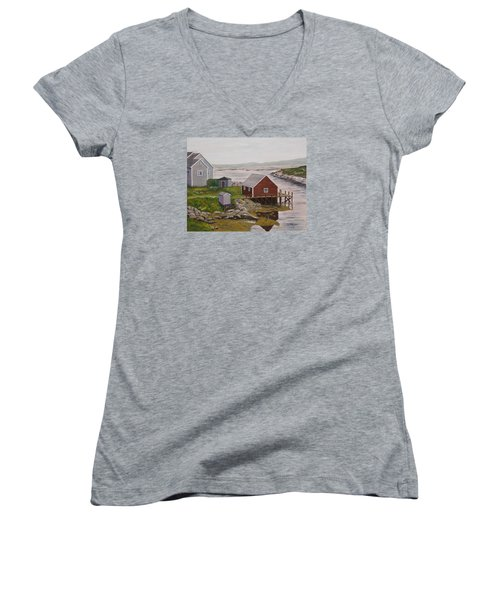 Peggy's Cove Women's V-Neck T-Shirt (Junior Cut) by Alan Mager
