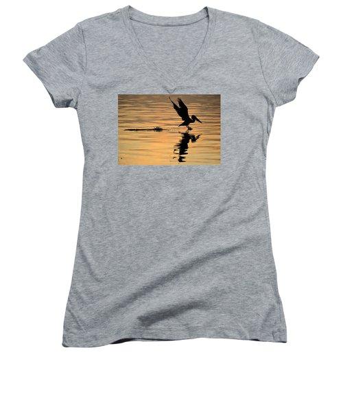 Pelican At Sunrise Women's V-Neck T-Shirt (Junior Cut) by Leticia Latocki