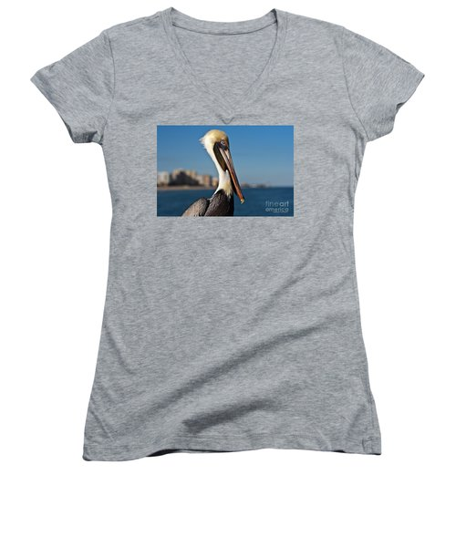 Women's V-Neck T-Shirt (Junior Cut) featuring the photograph Pelican by Barbara McMahon