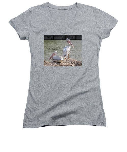 Pelicans By The Pair Women's V-Neck T-Shirt (Junior Cut) by Ella Kaye Dickey