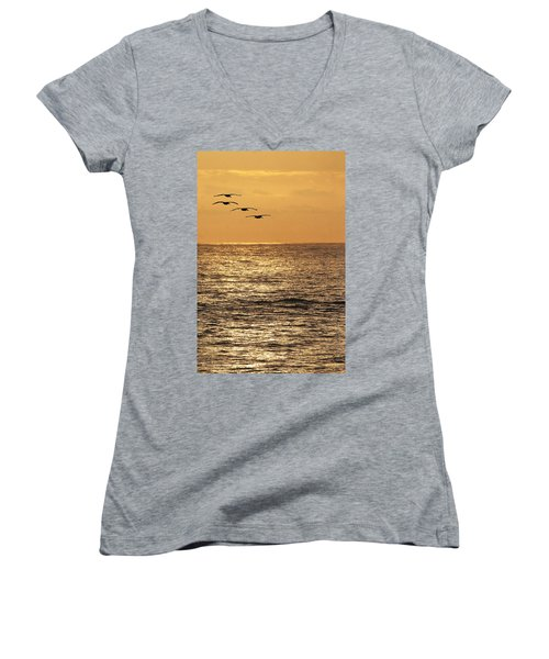Women's V-Neck T-Shirt (Junior Cut) featuring the photograph Pelicans Ocean And Sunsetting by Tom Janca