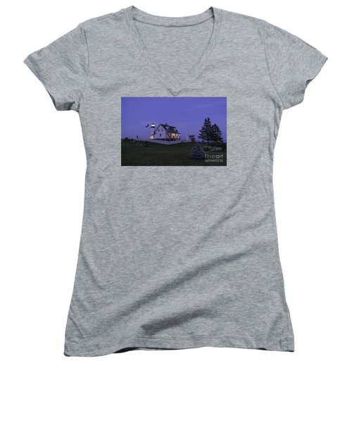 Pemaquid Point Light - Blue Hour Women's V-Neck T-Shirt