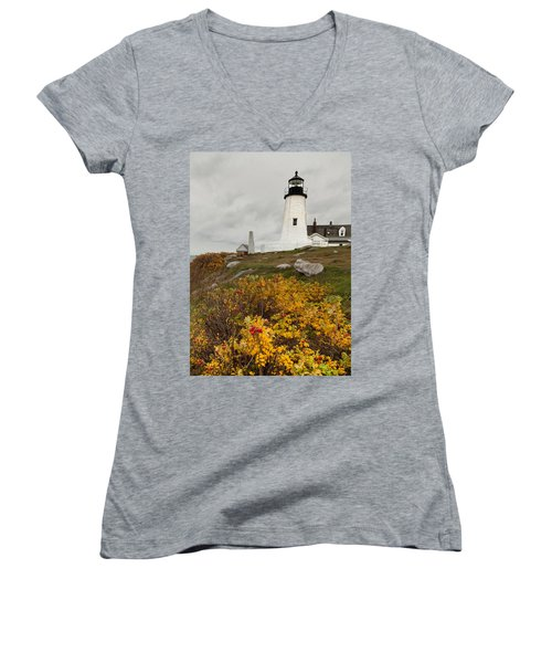 Pemaquid Point Lighthouse And Sea Roses Women's V-Neck T-Shirt (Junior Cut)