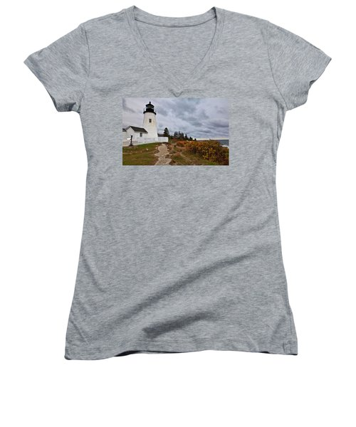 Stormy Autumn Day At Pemaquid Point Lighthouse Women's V-Neck T-Shirt (Junior Cut)