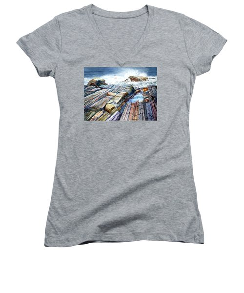 Pemaquid Rocks Women's V-Neck T-Shirt