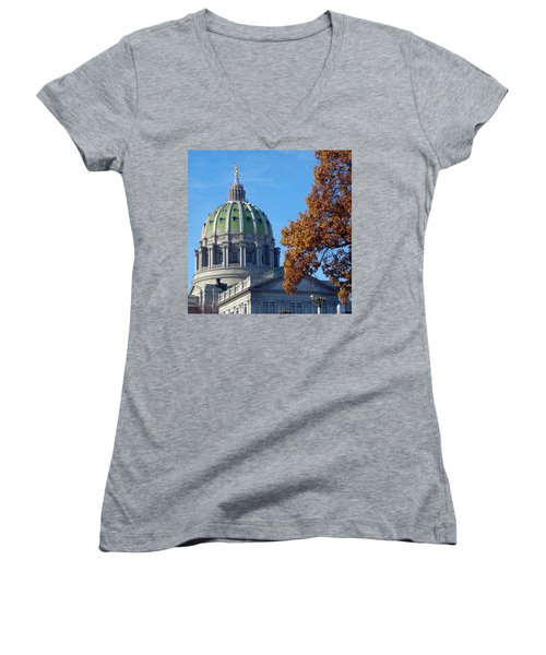 Pennsylvania Capitol Building Women's V-Neck (Athletic Fit)