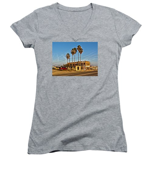 Penny Bar Mckittrick California Women's V-Neck T-Shirt (Junior Cut) by Lanita Williams
