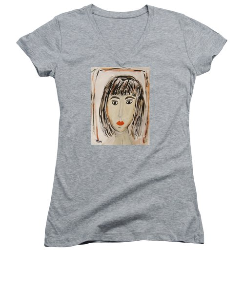 Pensive M.  Women's V-Neck T-Shirt (Junior Cut) by Mary Carol Williams