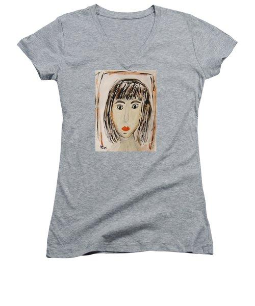 Pensive M.  Women's V-Neck T-Shirt
