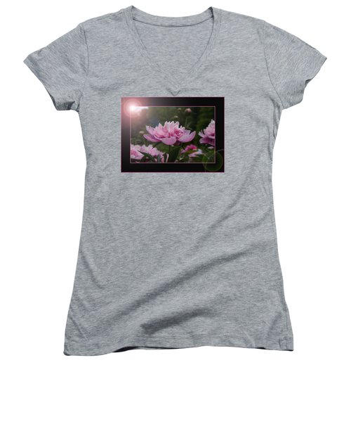 Peony Garden Sun Flare Women's V-Neck T-Shirt (Junior Cut) by Patti Deters