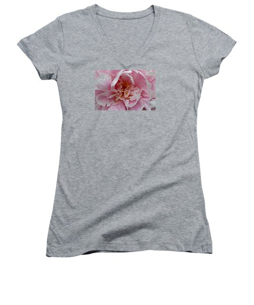 Peony Love Women's V-Neck T-Shirt (Junior Cut) by Julie Andel