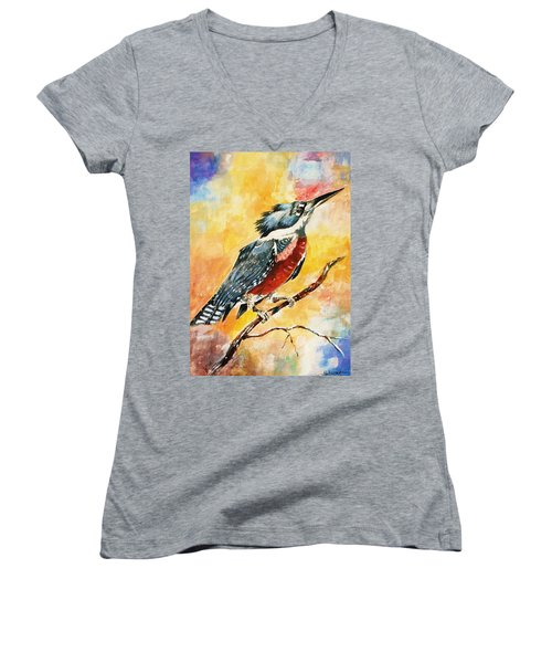 Women's V-Neck T-Shirt (Junior Cut) featuring the painting Perched Kingfisher by Al Brown