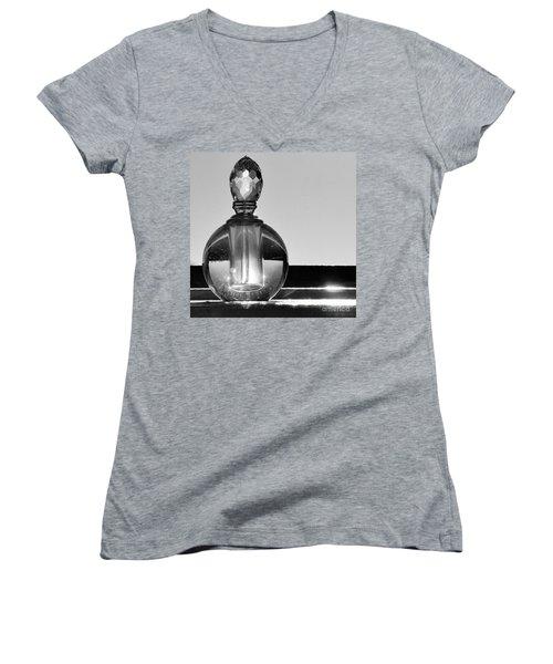 Women's V-Neck T-Shirt (Junior Cut) featuring the photograph Perfume Bottle Inversion by Lilliana Mendez