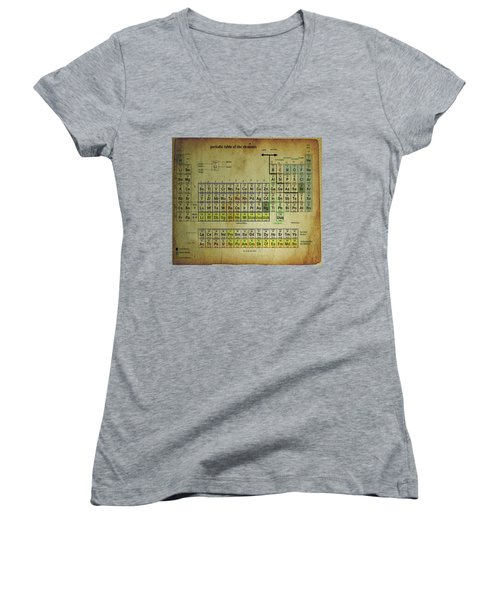 Women's V-Neck T-Shirt (Junior Cut) featuring the mixed media Periodic Table Of Elements by Brian Reaves