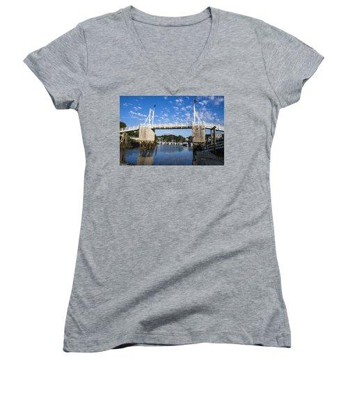 Perkins Cove - Maine Women's V-Neck T-Shirt (Junior Cut) by Steven Ralser