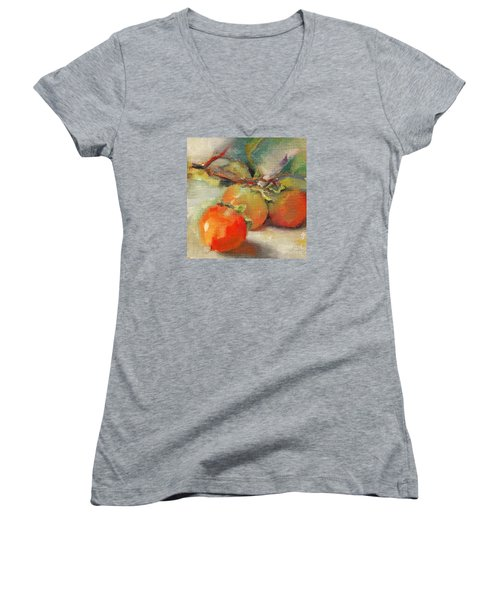 Persimmons Women's V-Neck T-Shirt (Junior Cut) by Michelle Abrams