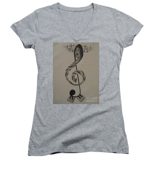 Women's V-Neck T-Shirt (Junior Cut) featuring the painting Personification Of Music by Jeepee Aero