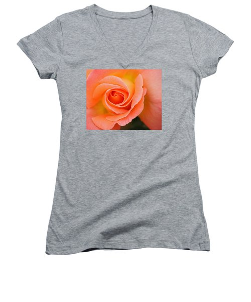 Petals Of Peach Women's V-Neck T-Shirt (Junior Cut) by Rowana Ray