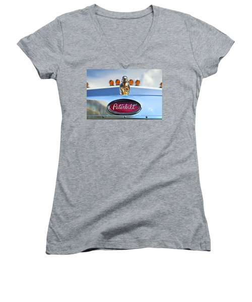 Peterbilt 2 Women's V-Neck T-Shirt (Junior Cut) by Theresa Tahara