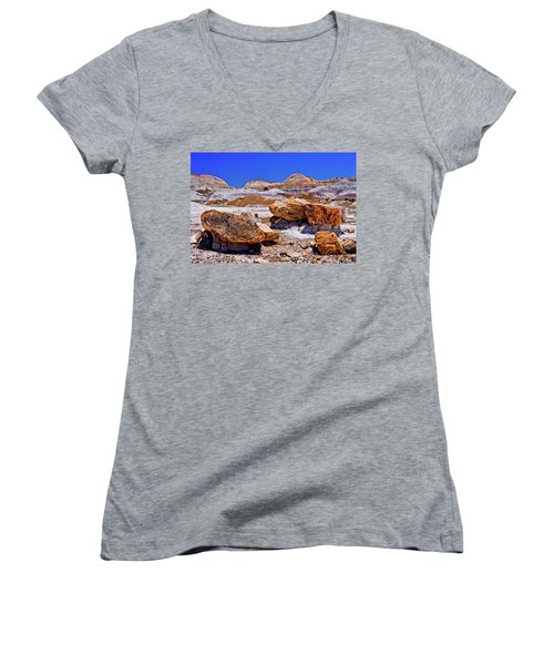 Women's V-Neck T-Shirt (Junior Cut) featuring the photograph Petrified Forest - Painted Desert by Bob and Nadine Johnston