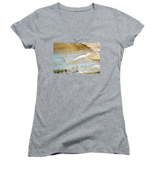Petroglyphs At Petroglyph Point In Lava Beds Nmon-ca Women's V-Neck (Athletic Fit)