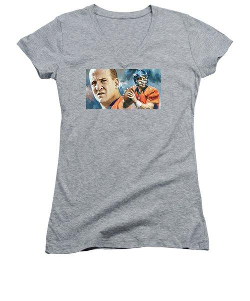Peyton Manning Artwork Women's V-Neck (Athletic Fit)