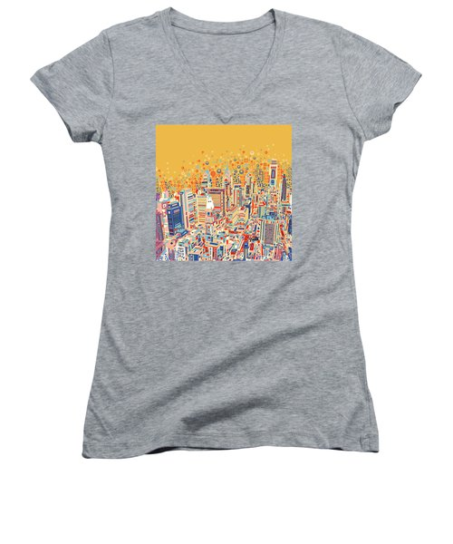 Philadelphia Panorama Pop Art Women's V-Neck T-Shirt