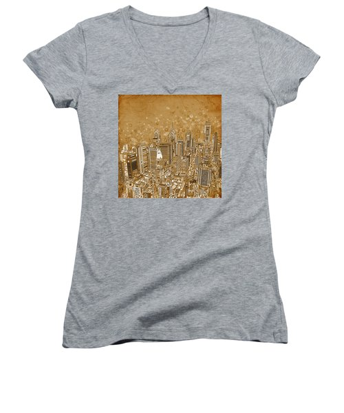 Philadelphia Panorama Vintage Women's V-Neck T-Shirt