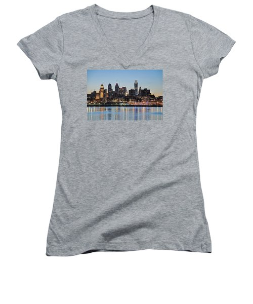 Philly Sunset Women's V-Neck T-Shirt (Junior Cut) by Jennifer Ancker