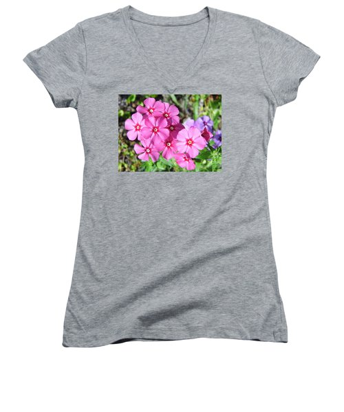 Women's V-Neck T-Shirt (Junior Cut) featuring the photograph Phlox Beside The Road by D Hackett