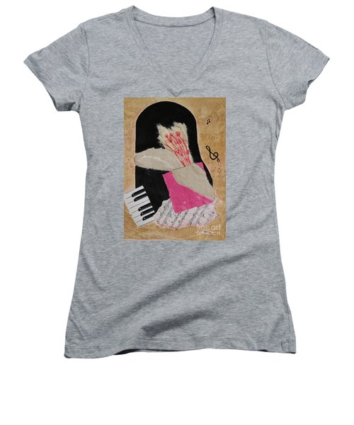 Women's V-Neck T-Shirt (Junior Cut) featuring the painting Piano Still Life by Mini Arora