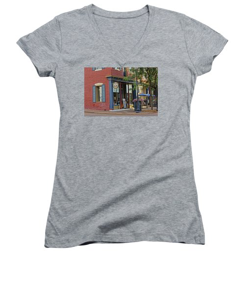 Picasso's N Main St Charles Mo Dsc00900  Women's V-Neck T-Shirt (Junior Cut) by Greg Kluempers